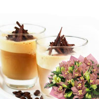 A bouquet of orchids and a card for two ice-coffees.. Shop in Ukrainian Marriage Agency.