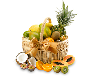 A basket of exotic fruits . Shop in Ukrainian Marriage Agency.