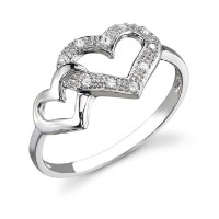 Ring with two hearts in white color. Shop in Ukrainian Marriage Agency.