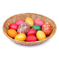 A basket of Easter eggs from Easter Rabbit. Shop in Ukrainian Marriage Agency.
