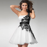 White dress with black lace. Shop in Ukrainian Marriage Agency.
