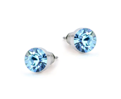 Stud earrings with blue stones. Shop in Ukrainian Marriage Agency.