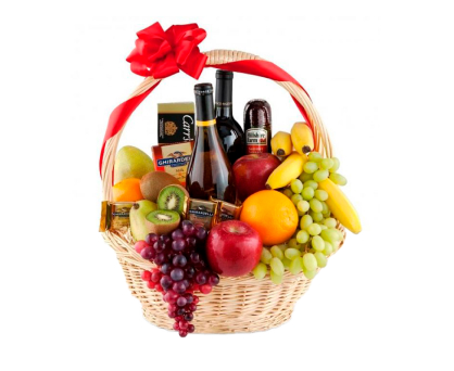 Basket of wine, fruit, and gourmet food. Shop in Ukrainian Marriage Agency.