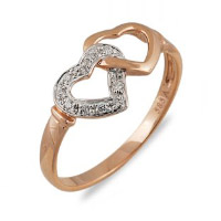 Ring with two hearts in golden color. Shop in Ukrainian Marriage Agency.