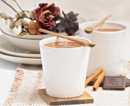 A card for two cups of hot chocolate with sweets. Shop in Ukrainian Marriage Agency.