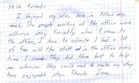 Testimonial from Issak. Ukrainian Marriage Agency