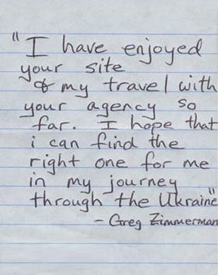 Testimonial from Greg. Ukrainian Marriage Agency